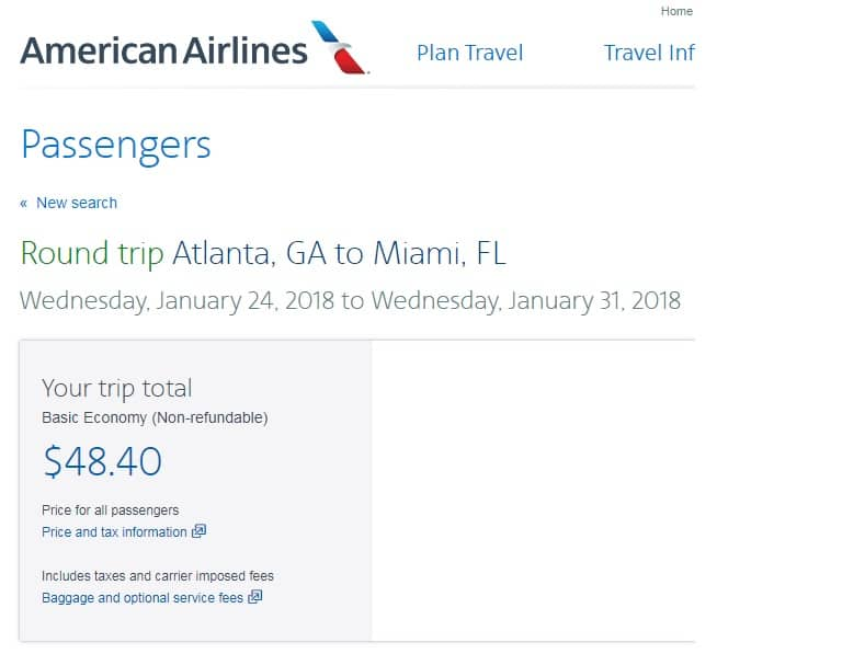 Atlanta to Miami $48 RT Nonstop on American Airlines (BE) (Departs Jan 24 Only)