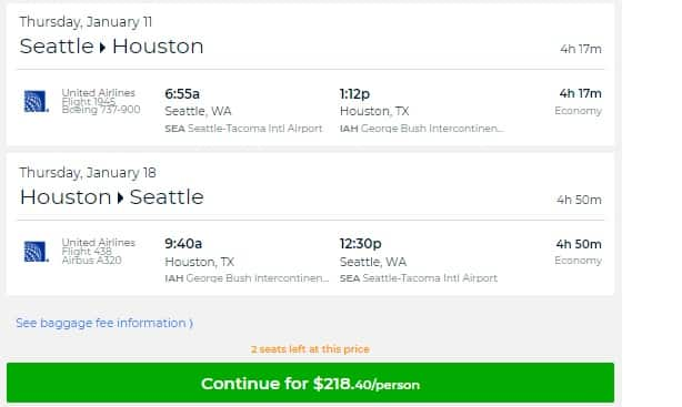Seattle to Houston or Vice Versa $218 RT Nonstop on United or Alaska Airlines (travel Jan-April 2018)