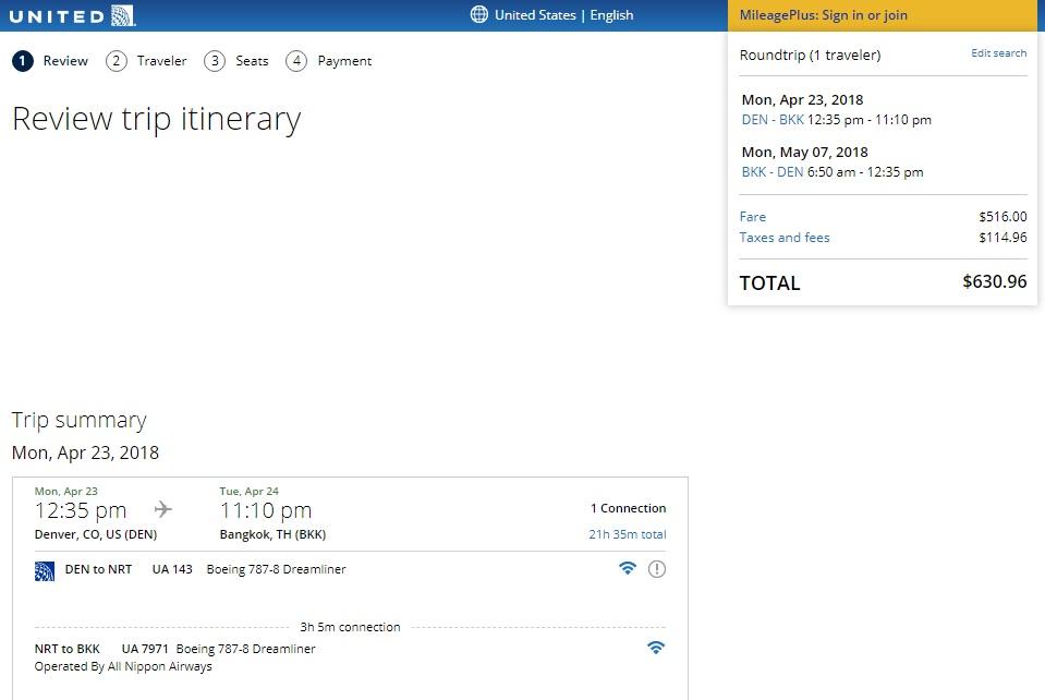 Denver to Bangkok $631 RT on United Airlines / ANA (travel April 2018)