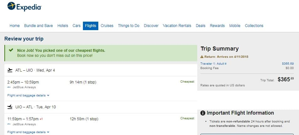 Atlanta to Ecuador $366 or $381 RT on Jetblue Airways (travel March-April)