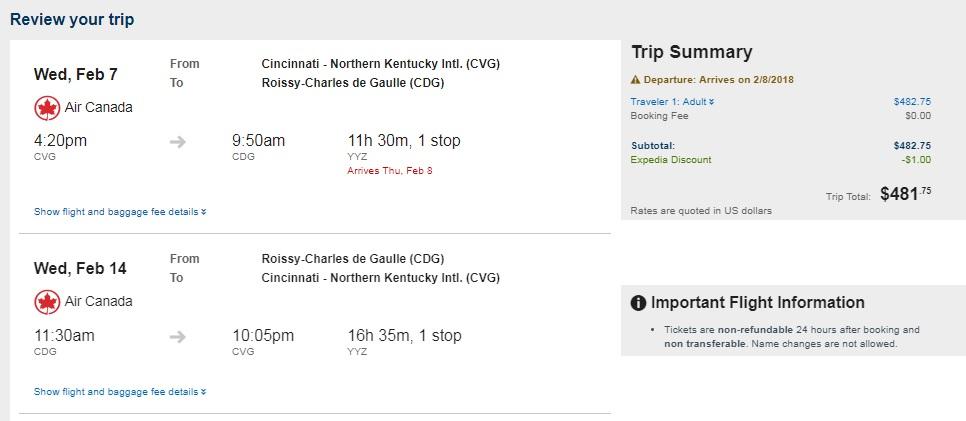 Cincinnati to Paris France $482 RT on Air Canada (travel Jan-Feb)