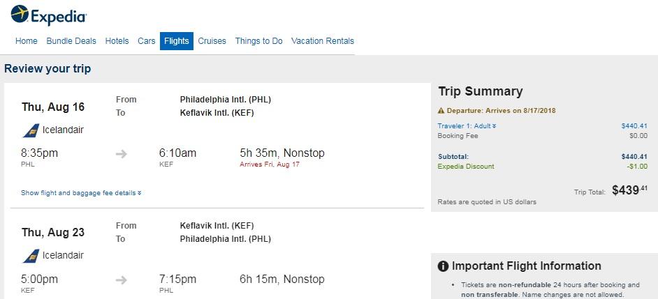 Philadelphia to Iceland $439 RT Nonstop on Icelandair (travel May, Aug-Sept)