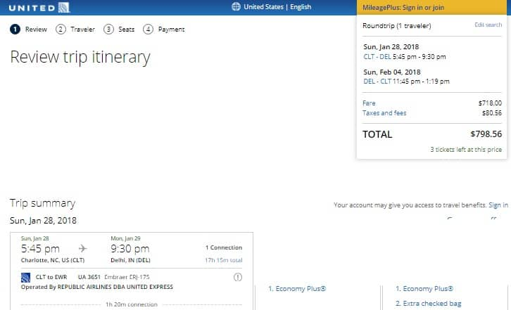 Charlotte to New Delhi $799 RT on United Airlines