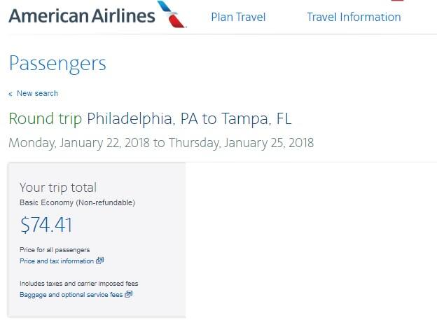 Tampa to Philadelphia or Vice Versa $74-79 RT Nonstop on American Airlines (BE) (limited travel Jan)