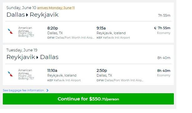 Dallas to Iceland $551 RT Nonstop on American Airlines (travel June-Sept) SUMMER
