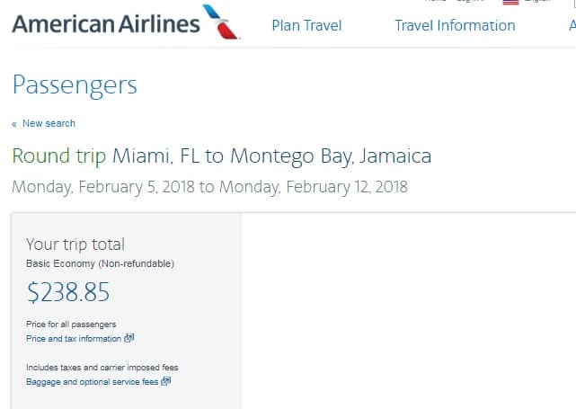 Miami to Montego Bay Jamaica $239 (BE) or $289 (Regular)  RT Nonstop on American Airlines (BE)