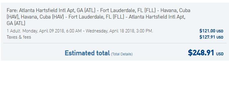 Atlanta to Havana Cuba $249 RT on JetBlue Airways (travel March-April)