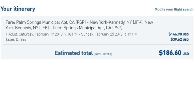 New York to Palm Springs CA or Vice Versa $187 RT Nonstop on JetBlue (travel Jan-April)