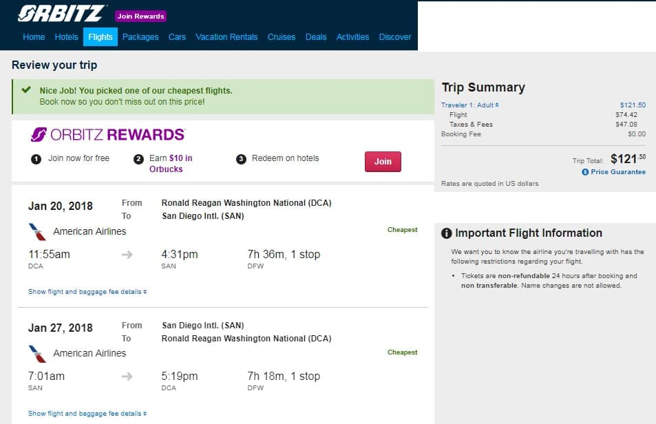Washington DC to San Diego or Vice Versa $121-126 RT on American Airlines (travel Jan-Feb)