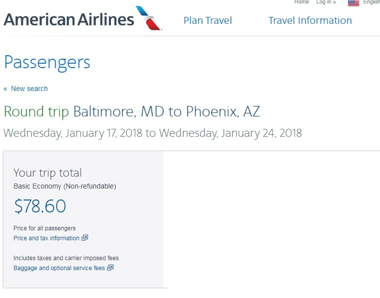 Washington DC / Baltimore to Phoenix or Vice Versa $78 RT Nonstop on American Airlines (BE) (limited dates in Jan)