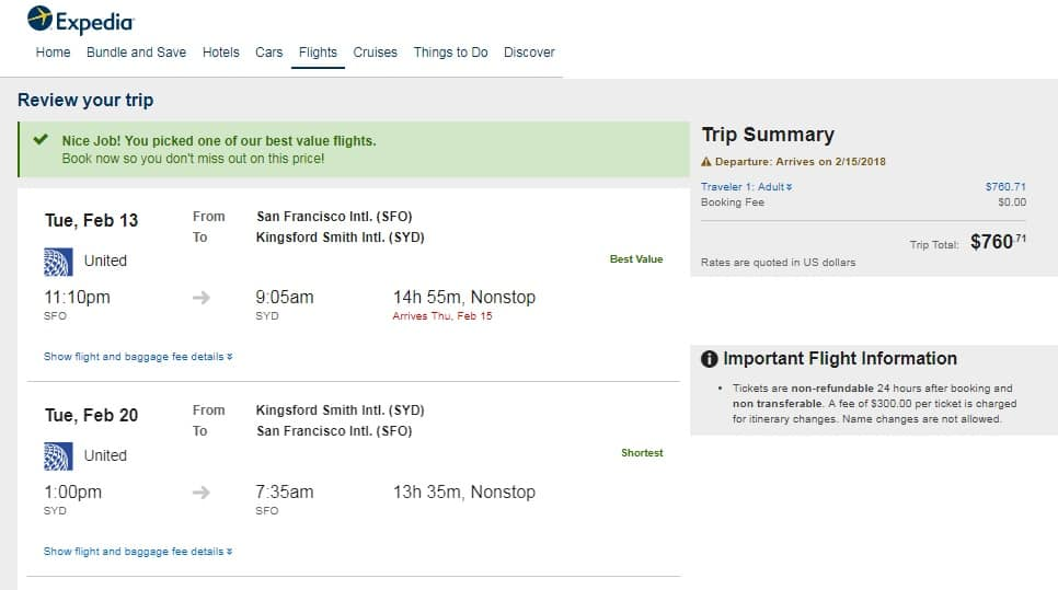 San Francisco to Sydney Australia $760 RT Nonstop on United Airlines (travel Feb-Sept, a few SUMMER dates)