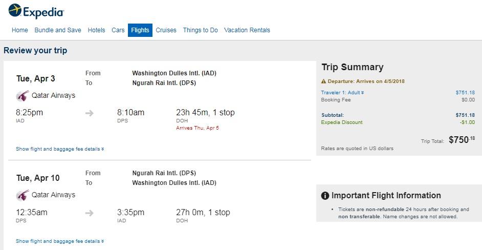 Washington DC to Indonesia $750 RT Airfares on Qatar Airways (travel Jan - May)