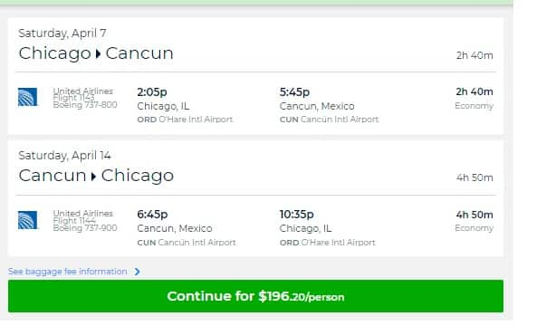 Chicago to Cancun MX $196 RT Nonstop on United Airlines (travel limited Feb-April)