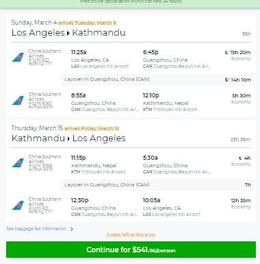Los Angeles to Kathmandu Nepal $551 RT on China Southern Airlines (limited dates March & April)