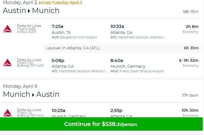 Austin TX to Munich Germany $538 RT on Delta Airlines (travel Mar-May)