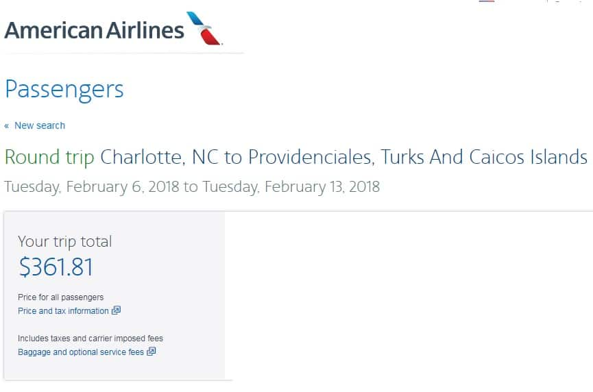 Charlotte NC to Turks & Caicos Island $312 BE or $362 Reg on American Airlines (limited travel Jan-Feb)