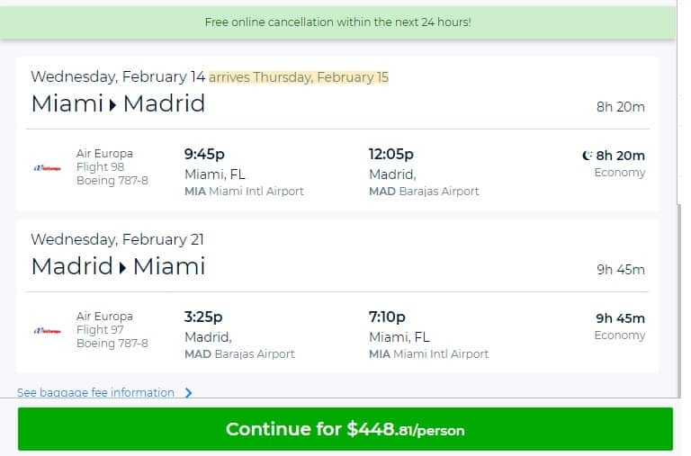 Miami to Madrid Spain $449 RT Nonstop Airfare (travel Feb-March)
