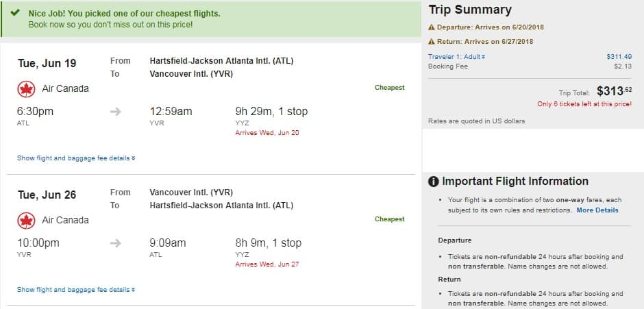Atlanta to Vancouver Canada $315 RT on Air Canada (travel Peak Summer Months)