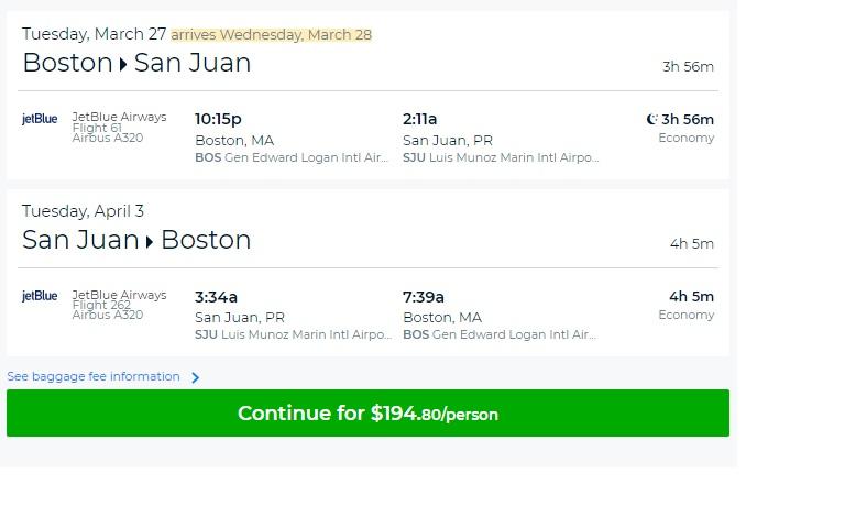 Boston to Puerto Rico $194 RT Nonstop on JetBlue Airways (travel Feb-May)