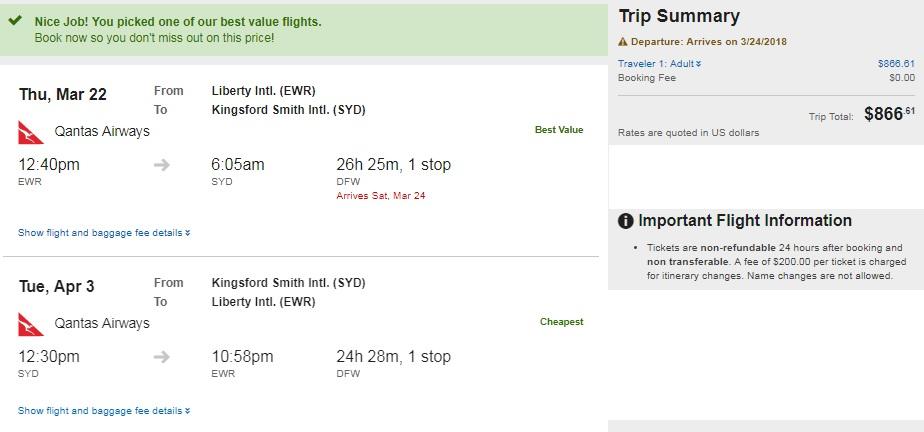 Chicago New York Denver Houston Washington DC to Sydney Australia $867 RT on Qantas Airways (travel March-June)