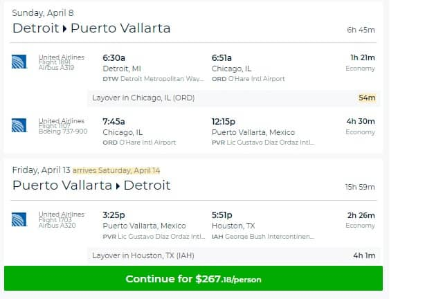 Detroit to Puerto Vallarta MX $267 RT on United Airlines (limited travel Feb & April)