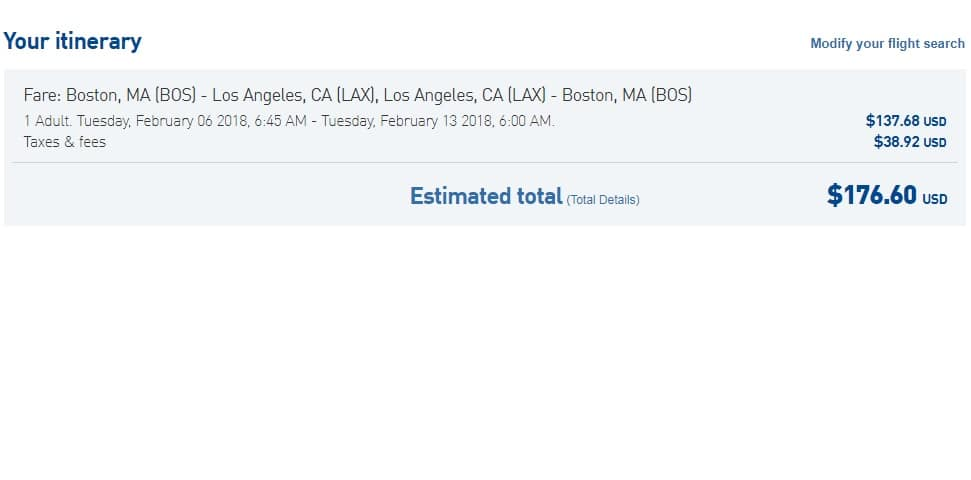 Los Angeles to Boston or Vice Versa $177-186 RT Nonstop on JetBlue (departs Feb 5 or 6 only)