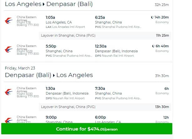 Los Angeles to Bali Indonesia $474 or $508 RT on China Eastern Airlines (departs March 9, 11, 12)
