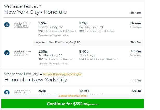 New York to Hawaii or Vice Versa $552 RT on Virgin America (limited dates Feb-Mar)