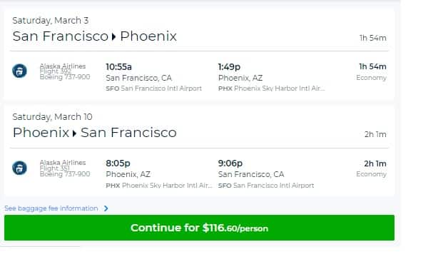 San Francisco to Phoenix or Vice Versa  $117 RT Nonstop on Alaska Airlines (travel Feb-March)