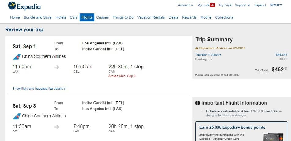 Los Angeles to New Delhi India $462 RT on China Southern Airlines