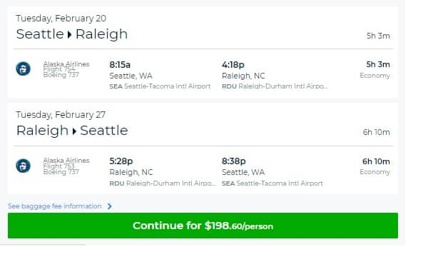 Raleigh NC to Seattle or Vice Versa $198 RT Nonstop Airfare on Alaska or Delta Airlines (travel Feb)
