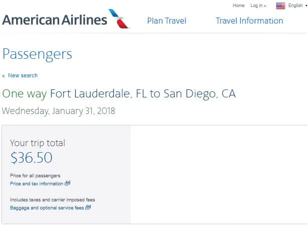San Diego to Ft Lauderdale or Vice Versa $74-94 RT on American Airlines (limited travel Jan-Feb)