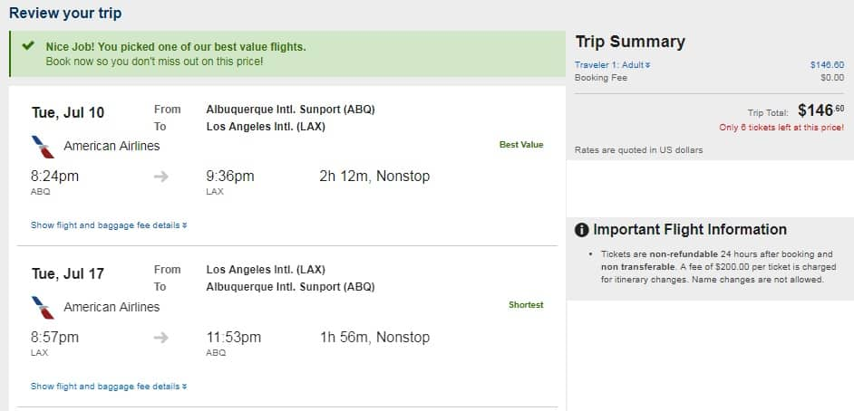 Albuquerque to Los Angeles or Vice Versa $147 RT Nonstop on American or Southwest Airlines (SUMMER Travel)