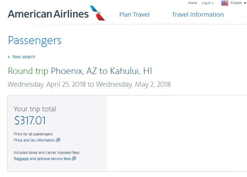 Phoenix to Maui Hawaii $317 RT Nonstop on American Airlines (limited travel dates Jan & April)