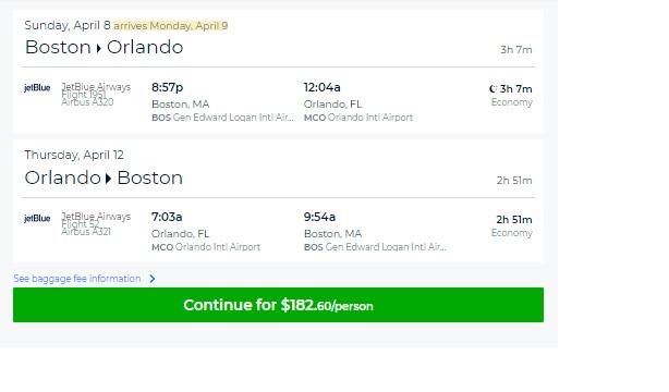 Boston to Orlando or Vice Versa $182 on JetBlue Airways (travel Feb-June)