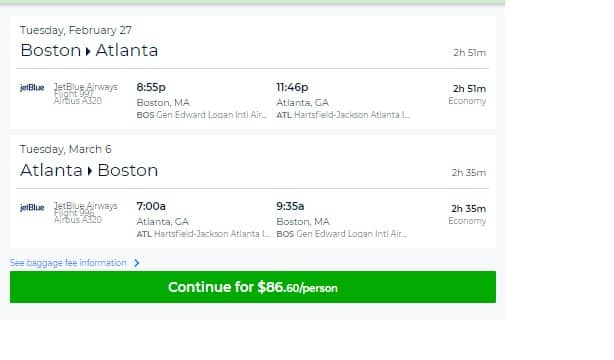 Atlanta to Boston or Vice Versa $86 on JetBlue  (limited dates Feb-March)