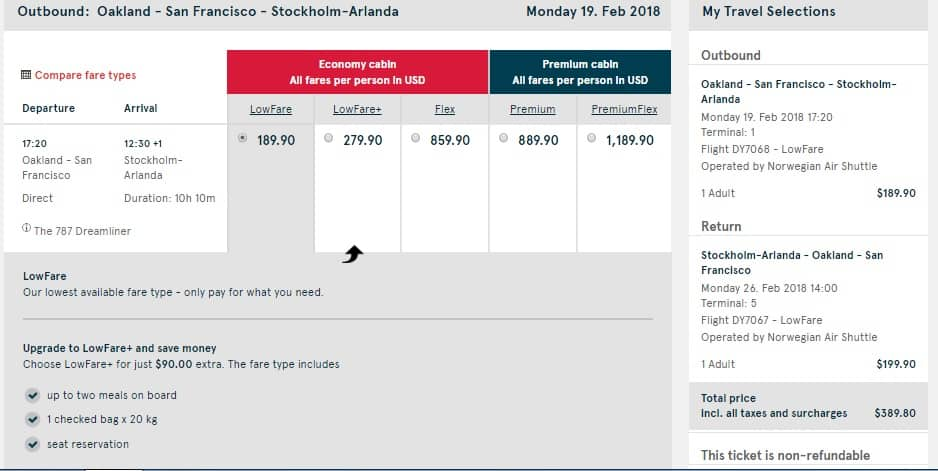 Oakland to Stockholm Sweden $390 RT Nonstop Airfare on Nowegian Air (travel Feb-March)