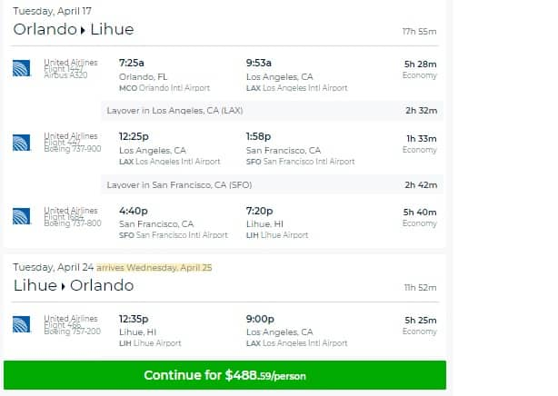 Orlando FL to Lihue Hawaii $489 RT on United Airlines (limited travel April)