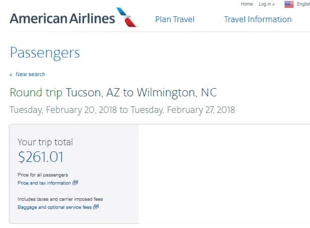 Wilmington NC to Phoenix $231 or Tucson $261 RT Airfares on American Airlines