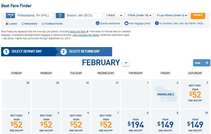 Philadelphia to Boston or Boston to Philadelphia $52 One-Way Airfares on Jetblue Airways