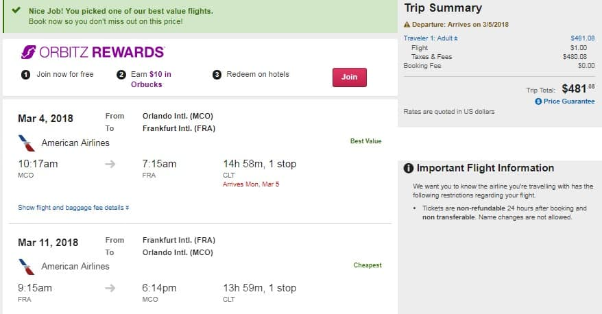 Orlando to Frankfurt Germany $481 RT Airfare on American Airlines (limited travel March)