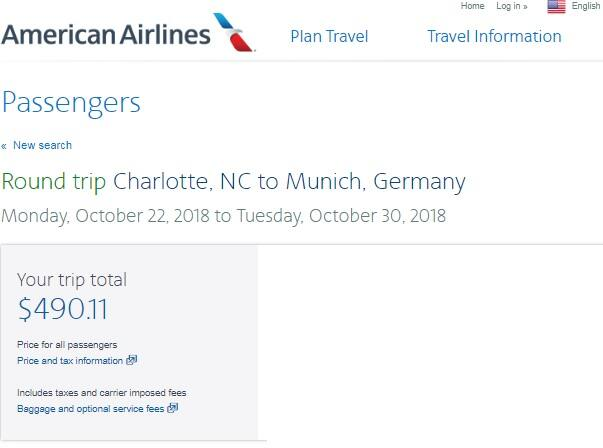 Charlotte to Munich Germany $490 RT on American Airlines (travel Aug-Dec)