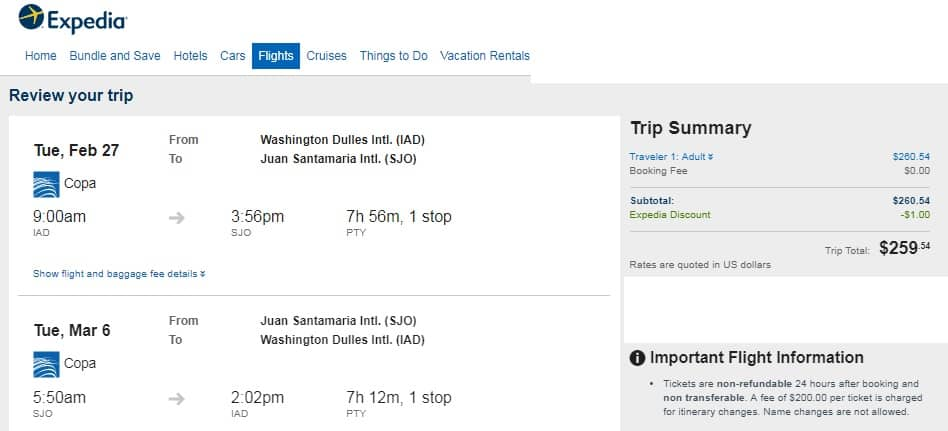 Washington DC to Costa Rica $260 RT on COPA Airlines (travel March-Nov incl PEAK SUMMER)
