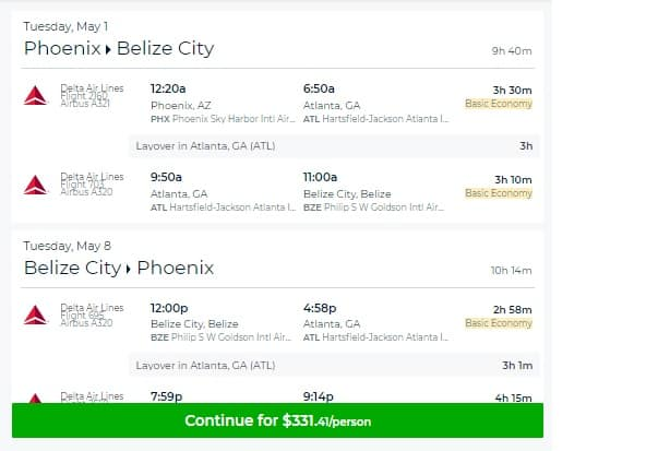 Phoenix to Belize City $341 RT on Delta Airlines (travel April-May)