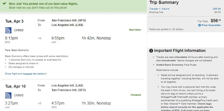 San Francisco to Los Angeles or Vice Versa $57 RT nonstop on United or American Airlines (travel Tues & Wed March-May)