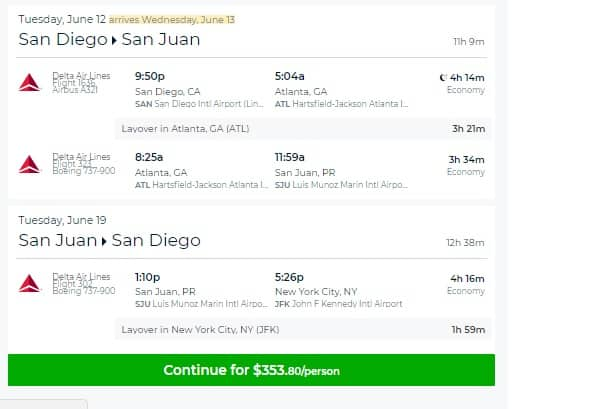 San Diego to Puerto Rico $354 RT on United and Delta Airlines (travel Feb-July)