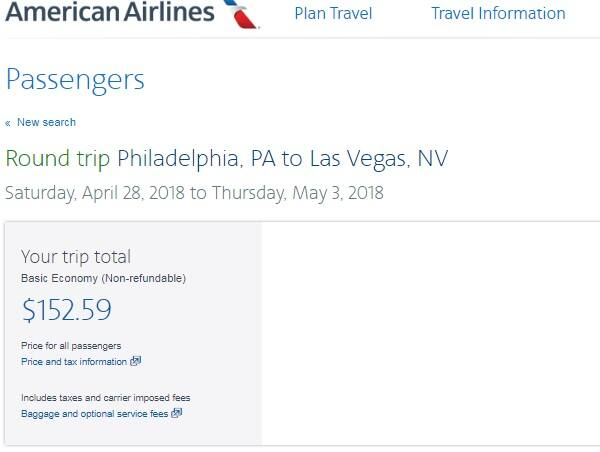 Philadelphia to Las Vegas or vice Versa $153 RT Airfare on American Airlines (very limited April Travel)