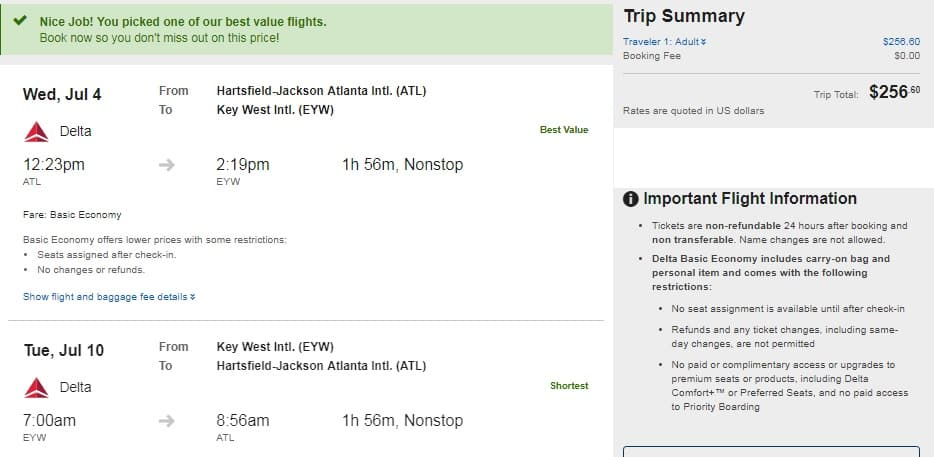 Atlanta to Key West FL or Vice Versa $257 RT Nonstop on Delta Airlines (BE) (Peak Summer June July Aug)
