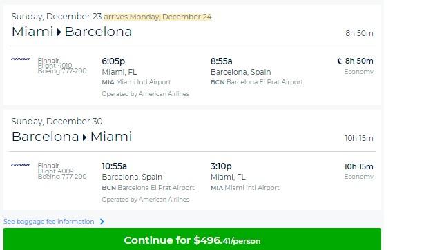 Miami to Barcelona Spain $496 RT Nonstop Airfares (travel Aug-Dec, incl Christmas!)