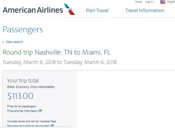 Nashville TN to Miami or Vice Versa $119 RT Nonstop Airfare on American Airlines (BE) (Limited Travel March-April)